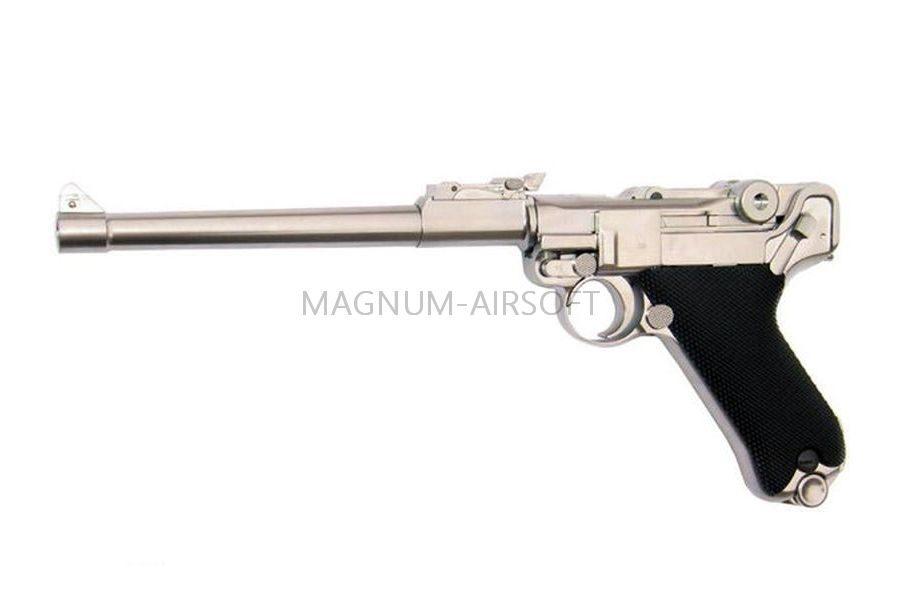 """Пистолет WE P-08 8"""", металл, хромированный, WE-P006 / GP403S"""