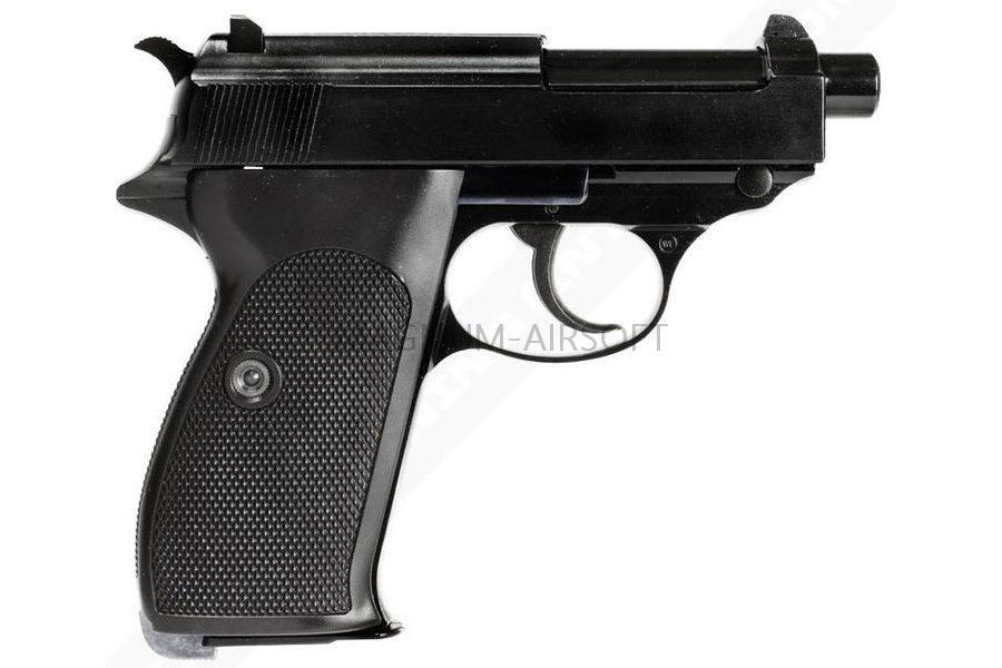 ПИСТОЛЕТ WE WALTHER P38 GBB черный, металл, укороченный с глушителем WE-P011SBOX-BK-P38