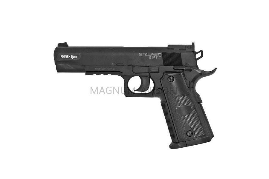 """Пистолет пневматический Stalker S1911T (аналог """"Colt 1911"""") к.4,5мм, пластик, 120 м/с, черный"""
