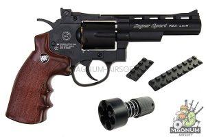 Gun Heaven (WinGun) 701 4 inch 6mm Co2 Revolver (Brown Grip) - Black