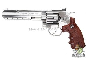Gun Heaven (WinGun) 702 6 inch 6mm Co2 Revolver (Brown Grip) - Silver