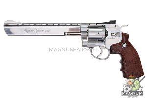 Gun Heaven (WinGun) 703 8 inch 6mm Co2 Revolver (Brown Grip) - Silver