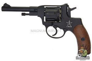 Gun Heaven (WinGun) 721 Nagant M1895 4 inch 6mm Co2 Revolver (Brown Grip) - Black