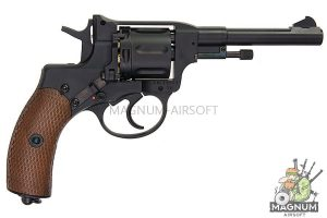 Gun Heaven (WinGun) 721 Nagant M1895 4 inch 6mm Co2 Revolver (Brown Grip) - Black