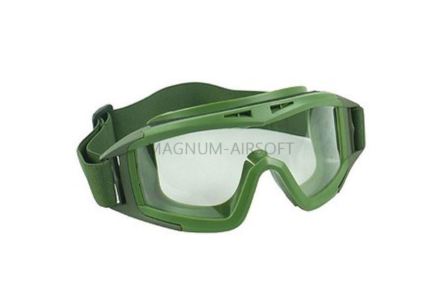 Очки тактические с прозрачными линзами поликарбонат (GREEN) AS-GG0018OD-WH