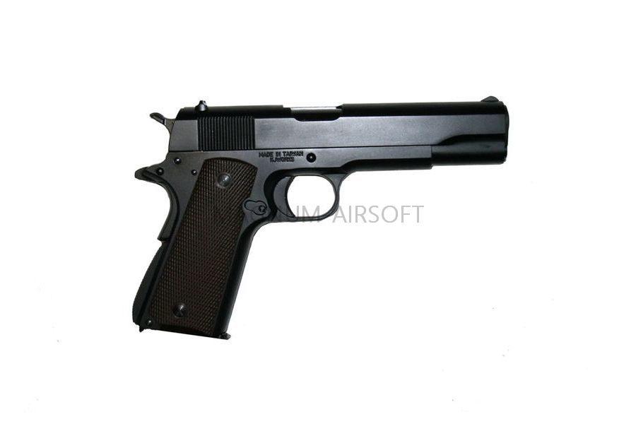 Пистолет KJW COLT M1911A1 GBB, GAS, черный, металл, модель - 1911.GAS