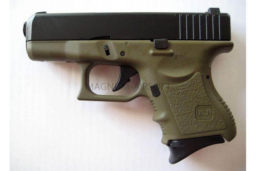 Пистолет KJW GLOCK G27 GBB, OD, мет. слайд, модель - KJW-G27-MS(ODG)