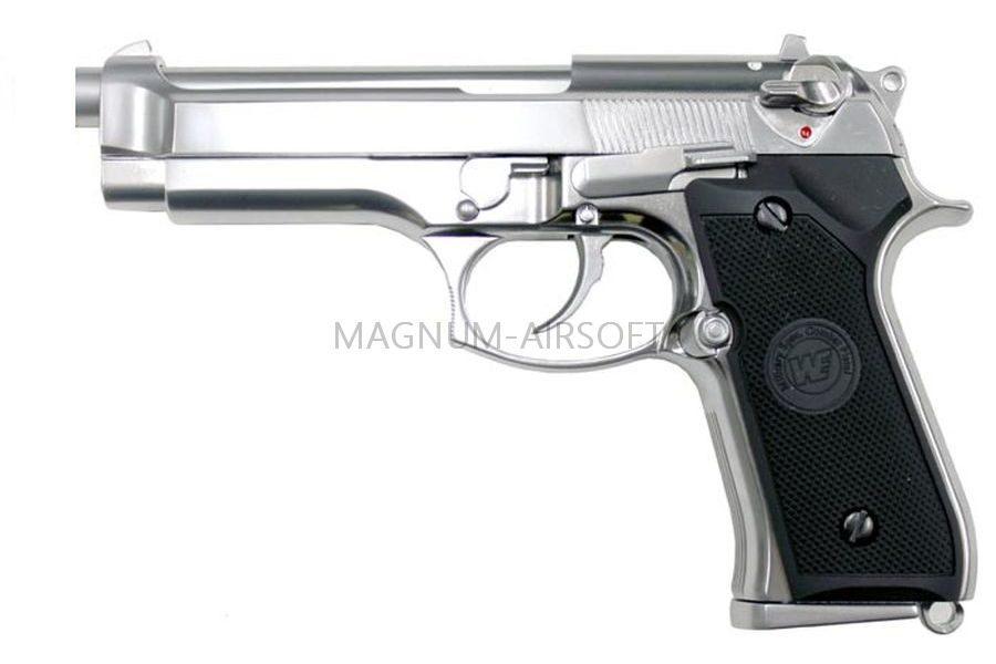 Пистолет WE BERETTA M92F, CO2, хромированный, металл, WE-M002-CO2 / CP301SV
