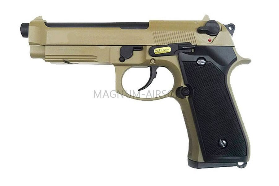 Пистолет WE BERETTA M92F, CO2, tan, металл, рельса WE-M008-T-M9A1-CO2 / CP321(TAN)