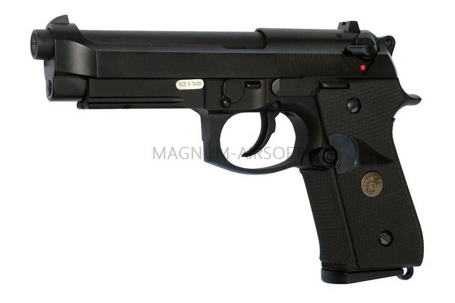 Пистолет WE BERETTA M92F, CO2, черный, металл, рельса, WE-M008-M9A1-CO2 / CP321