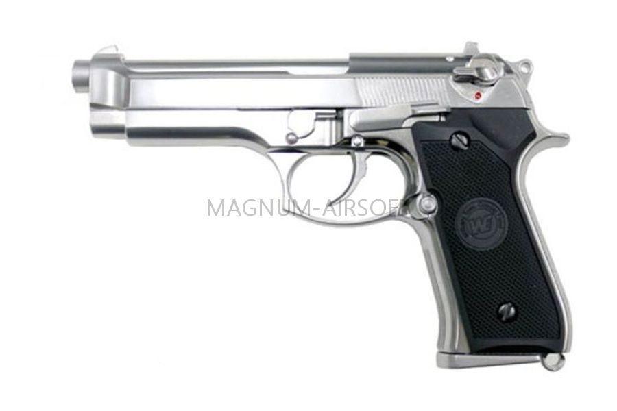 Пистолет WE BERETTA M92F, хромированный, металл, WE-M002 / GP301SV