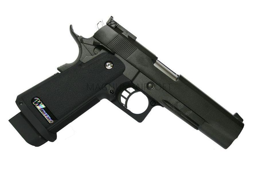 Пистолет WE COLT М1911А1 черная рукоять, металл, рельса WE-E001B