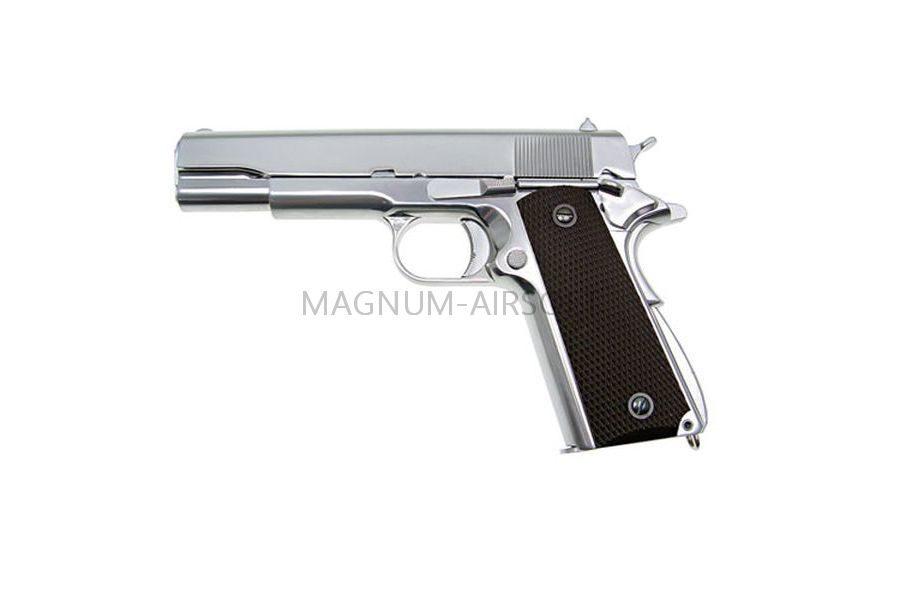 Пистолет WE COLT M1911А1, металл, хромированный, коричневые накладки, WE-E006A / GP109S