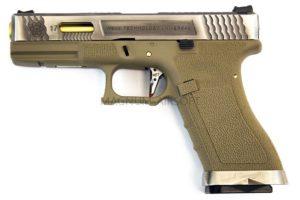 Пистолет WE GLOCK-17 G-Force металл слайд, TAN рамка, хромированный слайд,  золоченый ствол WE-G001WET-4