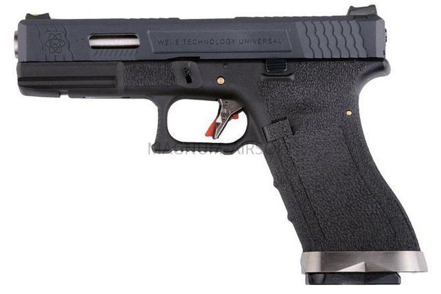 Пистолет WE GLOCK-17 G-Force металл слайд, черная рамка, черный слайд, хромированый ствол WE-G001WET-5
