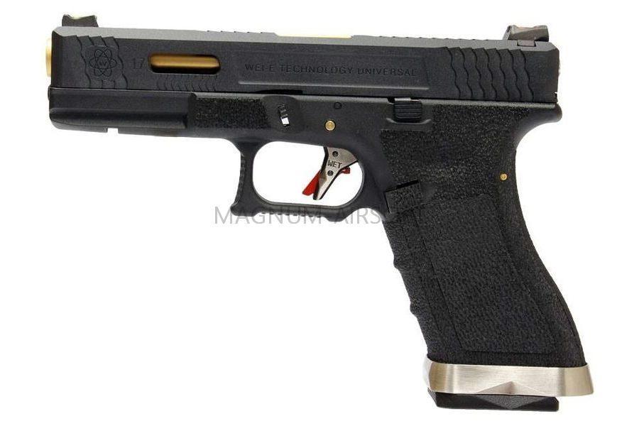 Пистолет WE GLOCK-17 G-Force металл слайд, черная рамка, черный слайд, золоченый ствол WE-G001WET-1