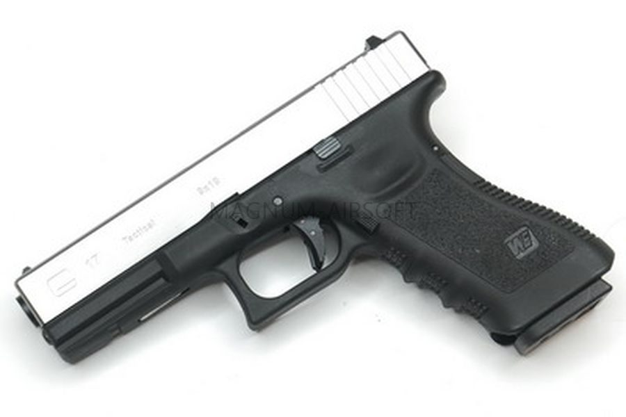Пистолет WE GLOCK-17 gen3, металл слайд, хромированный, WE-G001A-SV / GP616-SV