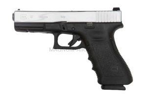 Пистолет WE GLOCK-17 gen4, металл слайд, хром, сменные накладки, WE-G001B-SV / GP616B-SV