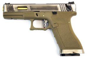 Пистолет WE GLOCK-18 G-Force, авт, металл слайд, TAN рамка, хромированный слайд, золоченый ствол  WE-G002WET-4