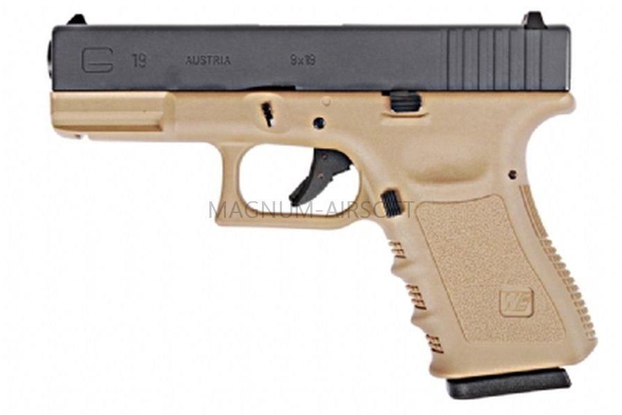 Пистолет WE GLOCK-19 gen3, металл слайд WE-G003A-TAN / GP619A-TAN