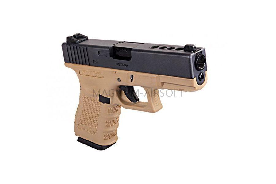 Пистолет WE GLOCK-23 gen3, металл слайд, автомат, TAN WE-G004A-TAN