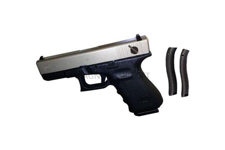 Пистолет WE GLOCK-23 gen4, металл слайд, автомат, сменные накладки, хромированный WE-G004B-SV
