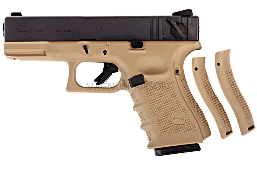 Пистолет WE GLOCK-23 gen4, металл слайд, автомат, сменные накладки, TAN WE-G004B-TAN
