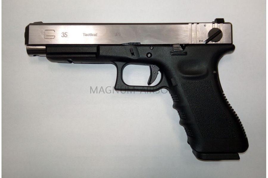 Пистолет WE GLOCK-35 gen3, авт, металл слайд, хромированный, WE-G009A-SV