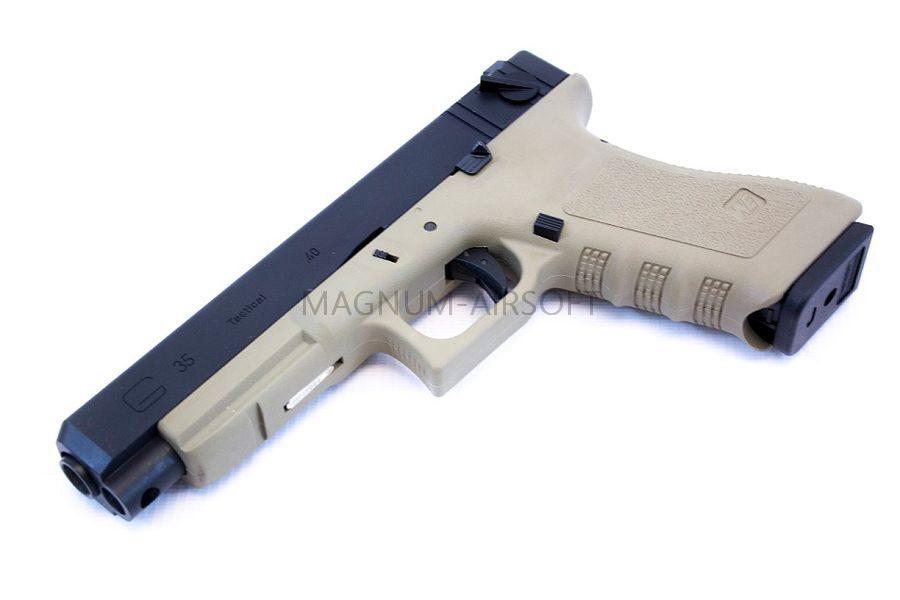Пистолет WE GLOCK-35 gen4, авт, металл слайд, сменные накладки, TAN, WE-G009B-TAN