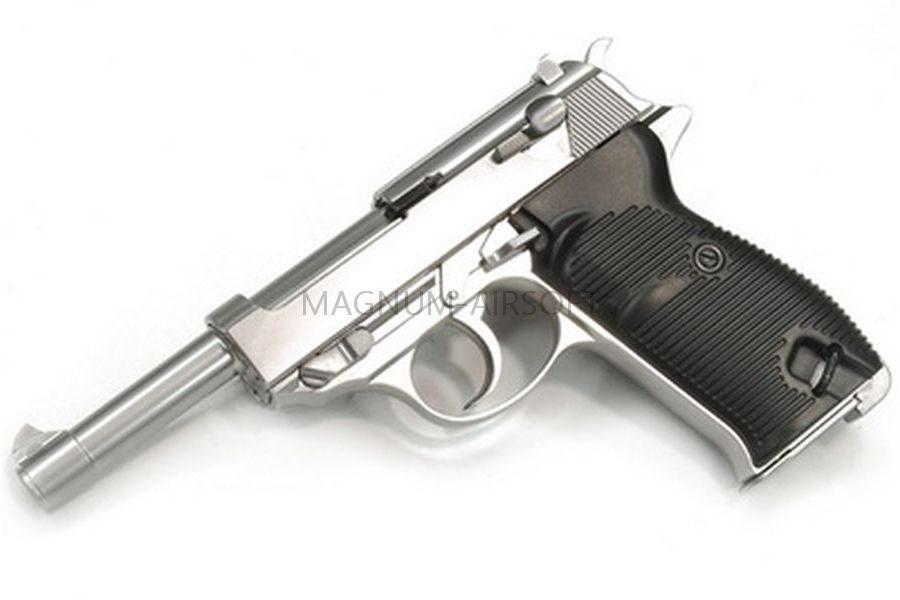 Пистолет WE WALTHER P38 GBB хром, металл, WE-P010LBOX-SV / GP124SB